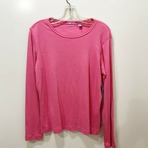 IZOD Size L Tee Solid Pink Scoop Neckline Cotton